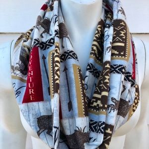 Flannel patch moose scarf